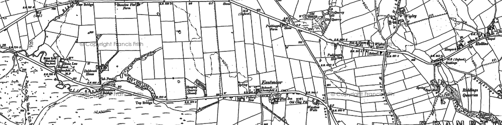 Old map of Whibbersley Cross in 1876