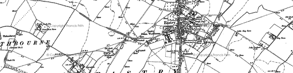 Old map of Eastry in 1896