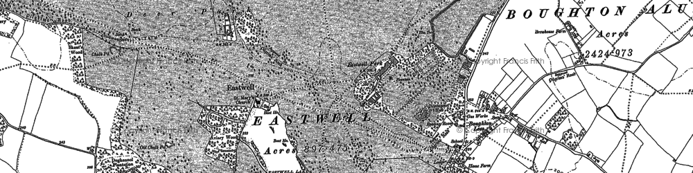 Old map of Eastwell Park in 1896