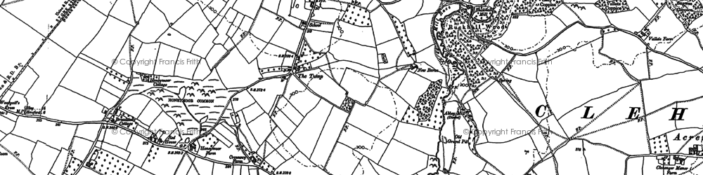 Old map of Wormhill in 1886