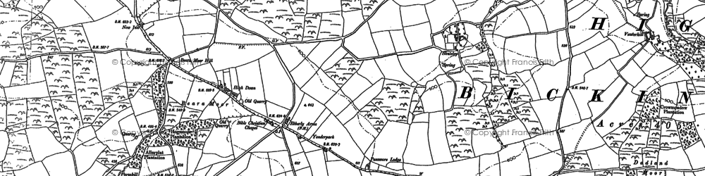 Old map of Withy Cross in 1886