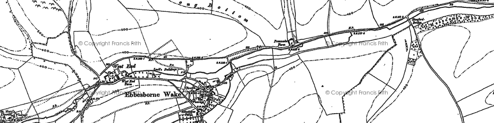Old map of Ebbesbourne Wake in 1900