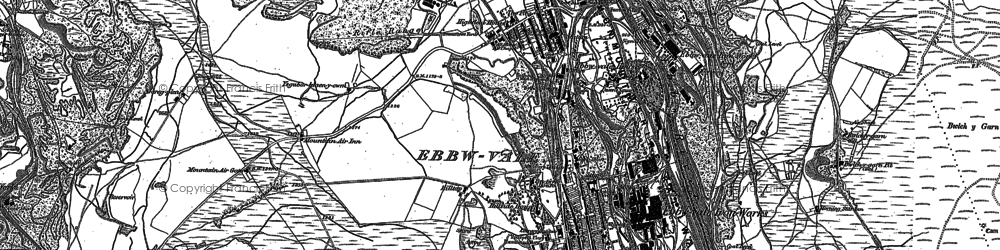 Old map of Ebbw Vale in 1879