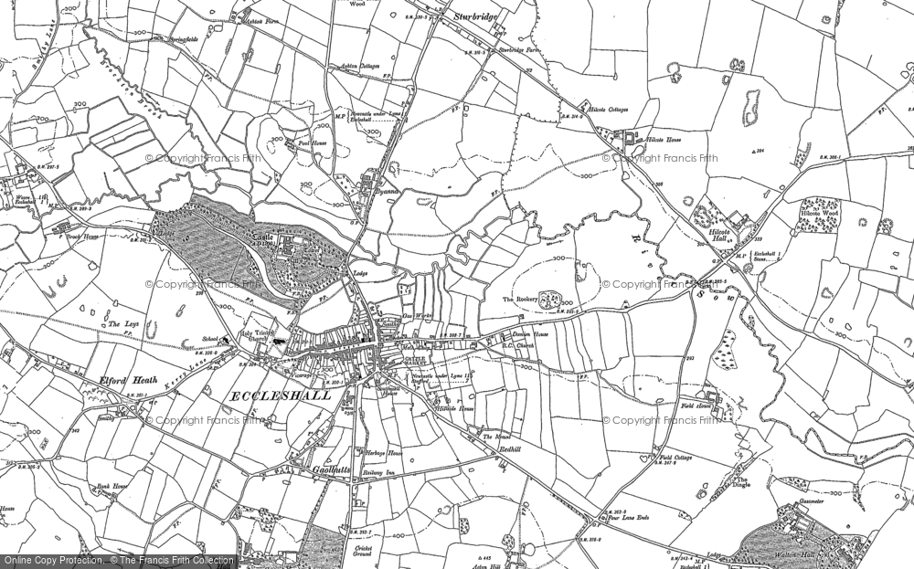 Old Map of Historic Map covering Acton Hill in 1879