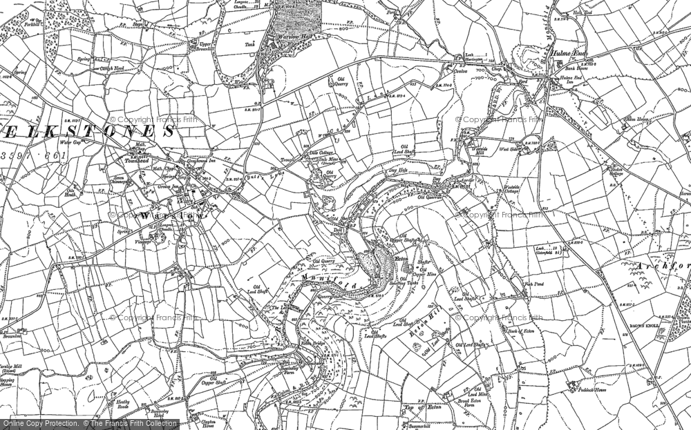 Old Map of Historic Map covering Back of Ecton in 1898