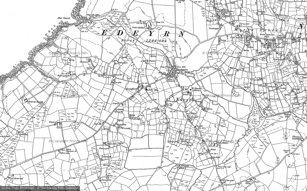 Old Map of Edern, 1899 in 1899