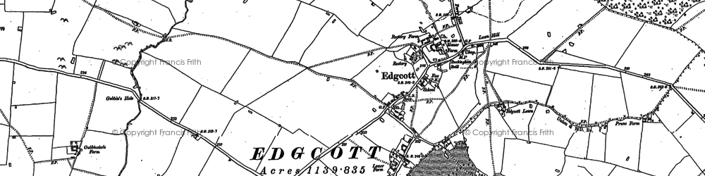 Old map of Edgcott in 1898