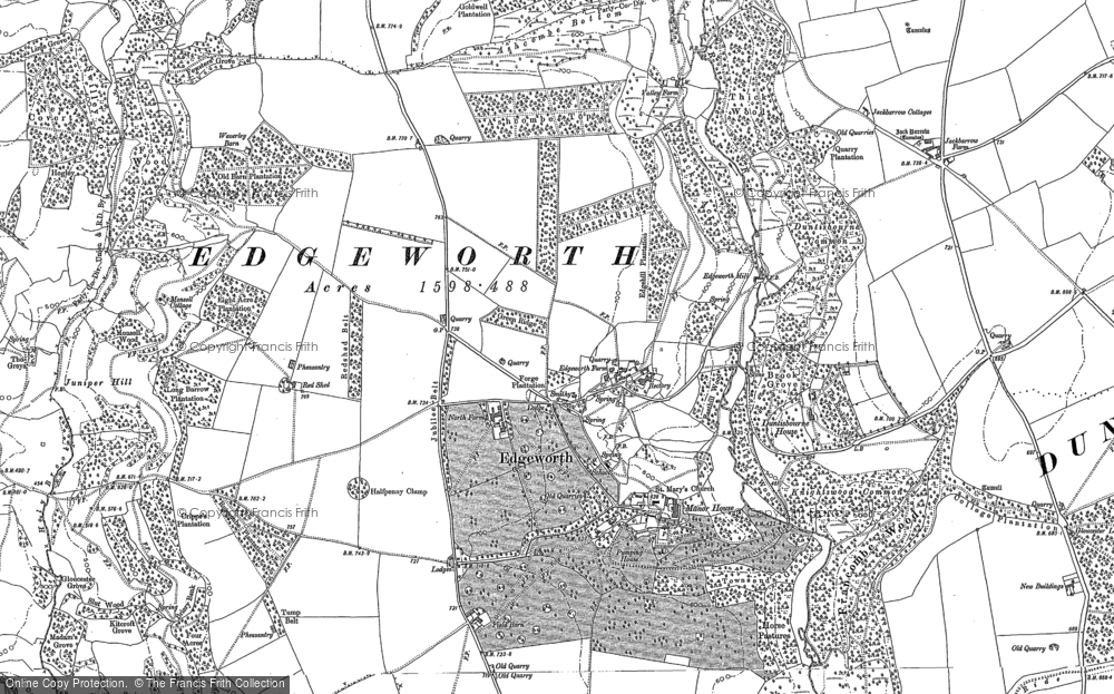 Old Map of Historic Map covering Ashcombe Bottom in 1882