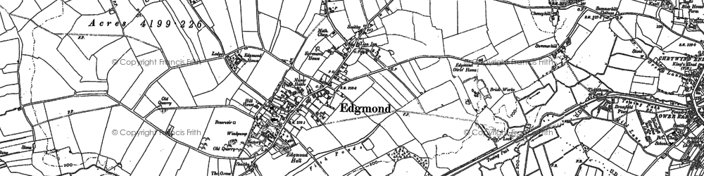 Old map of Edgmond in 1880