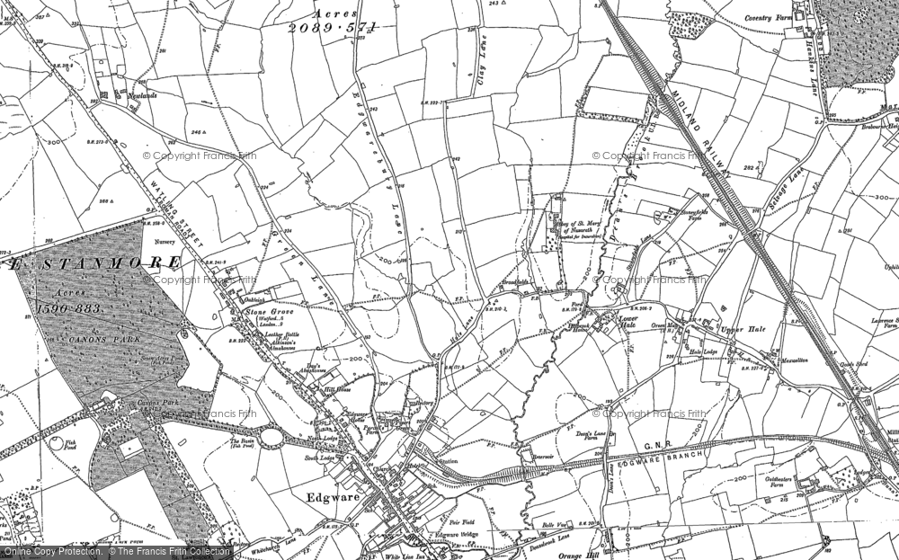 Old Map of Historic Map covering Burnt Oak in 1895