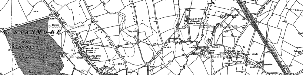 Old map of Burnt Oak in 1895