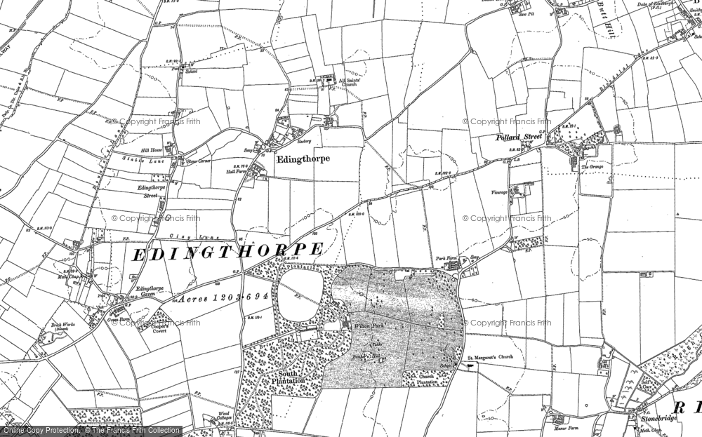 Old Map of Historic Map covering Bacton Wood in 1884