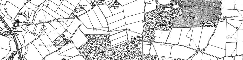 Old map of Witton Hall in 1885