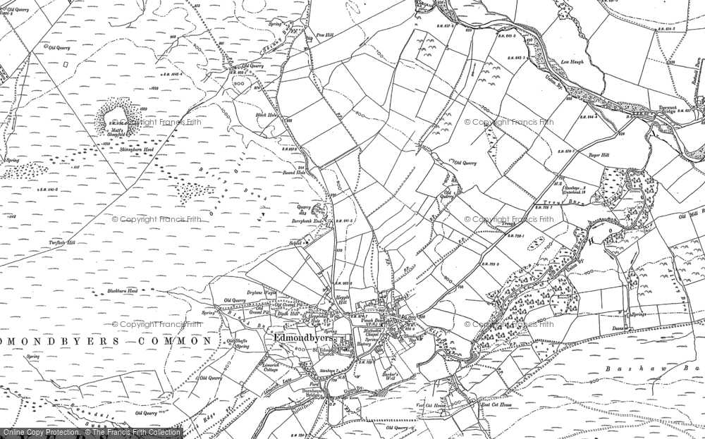 Old Map of Historic Map covering Edmundbyers in 1895