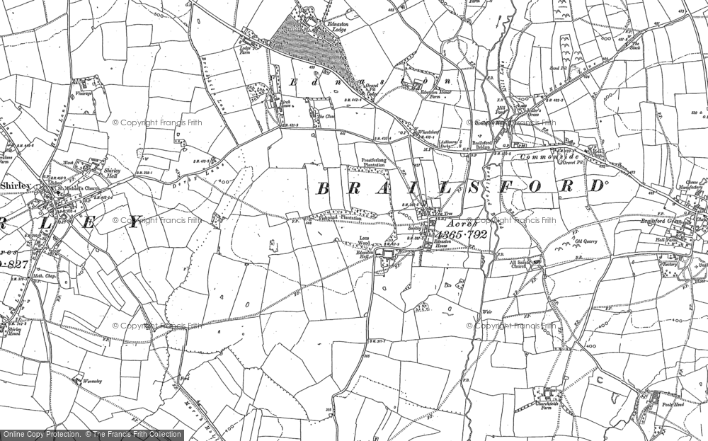 Old Map of Historic Map covering Alder Carr in 1880