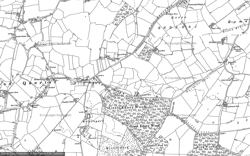 Old Map of Historic Map covering Writtle Park in 1895