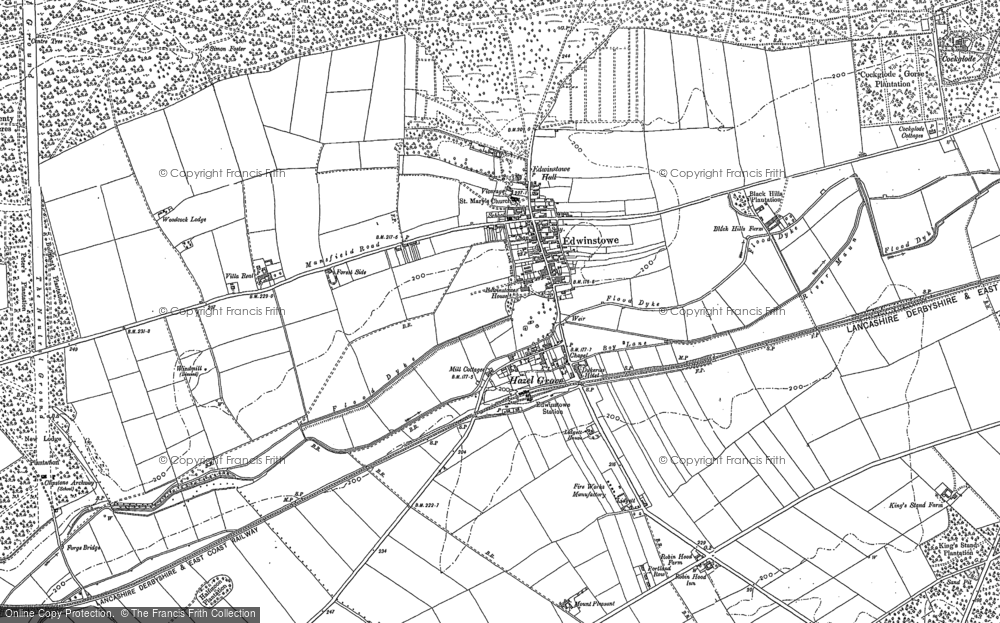Old Map of Historic Map covering Lidgett in 1883
