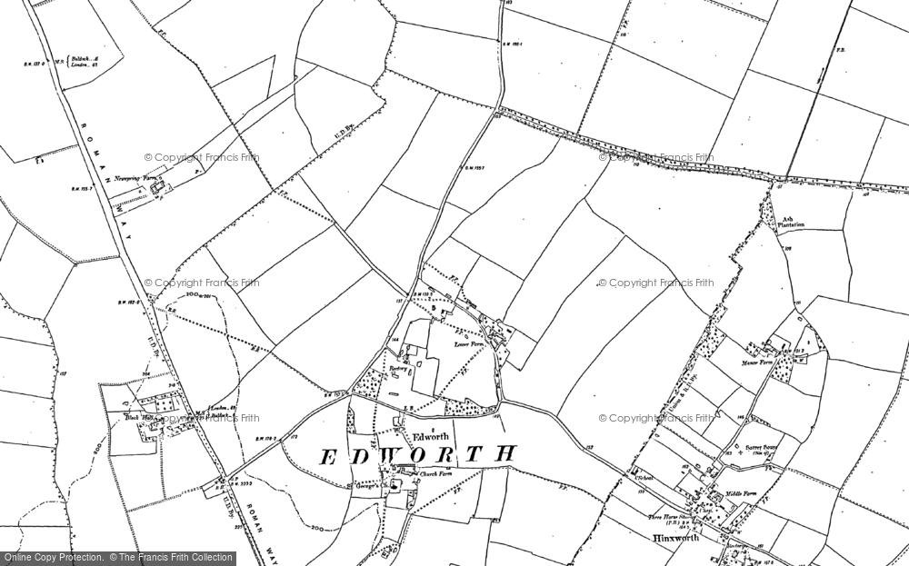 Old Map of Edworth, 1882 - 1900 in 1882