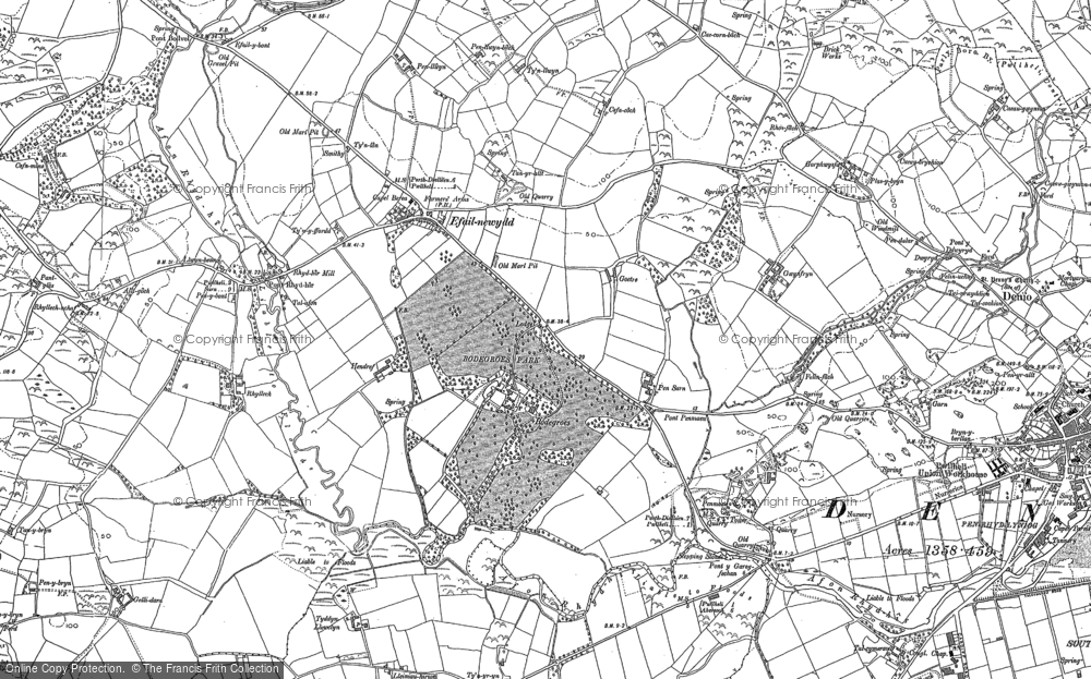 Old Map of Historic Map covering Afon Rhyd-hir in 1888