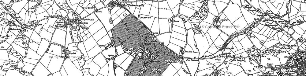 Old map of Afon Rhyd-hir in 1888