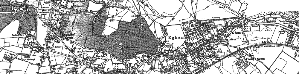 Old map of Egham in 1913