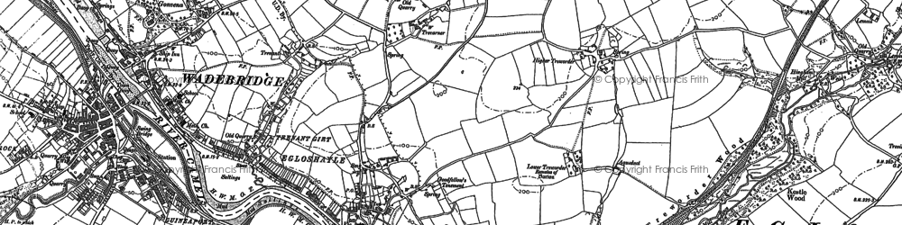 Old map of Three Holes Cross in 1880