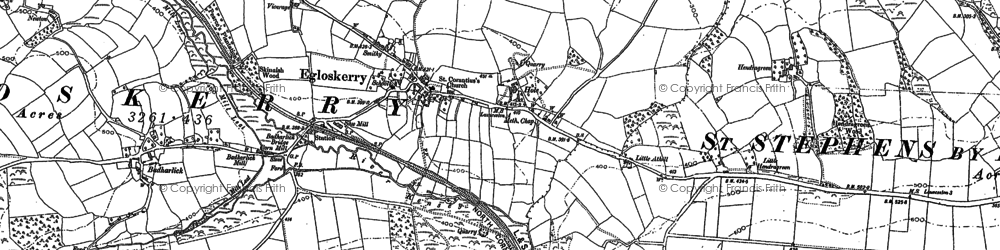 Old map of Egloskerry in 1882