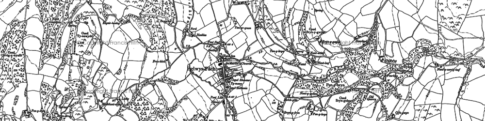Old map of Eglwysbach in 1912