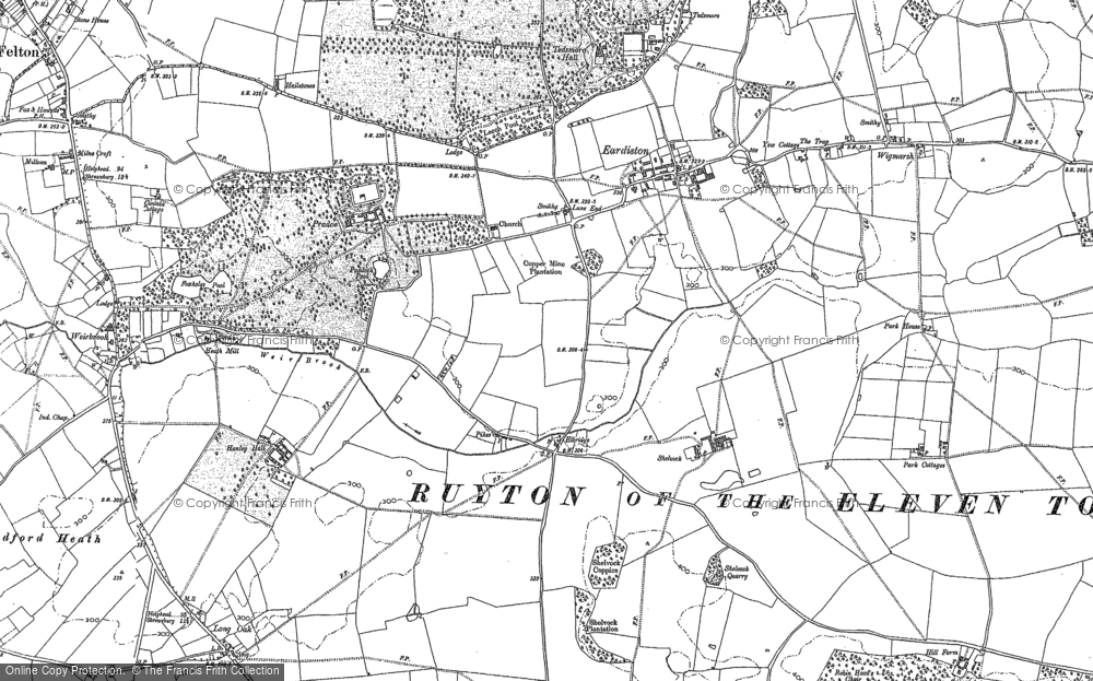 Old Map of Historic Map covering Lane End in 1875