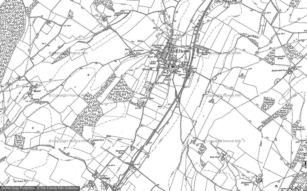 Old Map of Elham, 1896 in 1896