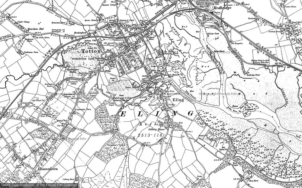 Old Map of Historic Map covering Langley Lodge in 1895