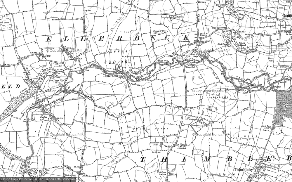 Old Map of Historic Map covering Lane End in 1892