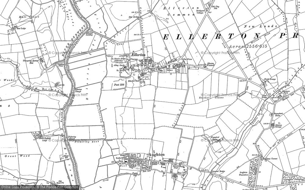 Old Map of Ellerton, 1889 in 1889