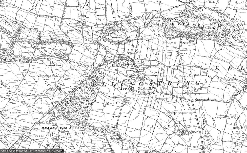 Old Map of Historic Map covering Agra Moor in 1890
