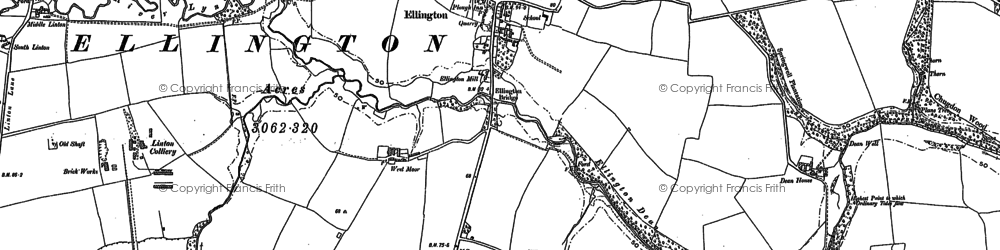 Old map of Ellington in 1896