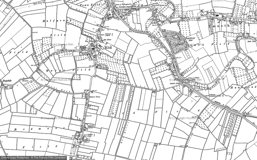 Old Map of Elm, 1900