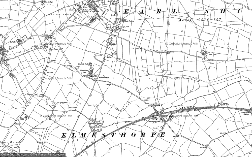 Old Map of Historic Map covering Aston Firs in 1886