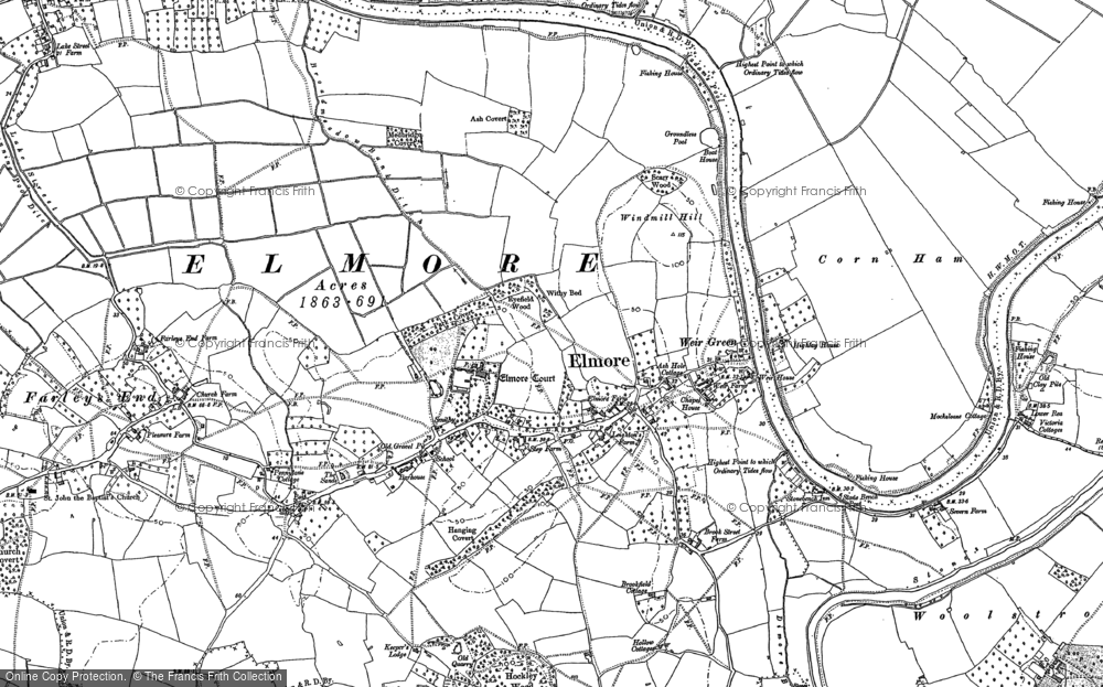 Old Map of Historic Map covering Barhouse in 1883