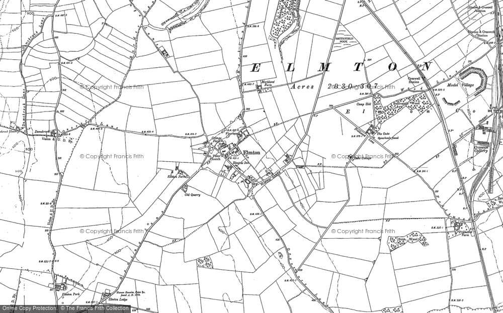 Old Map of Elmton, 1884 - 1897 in 1884