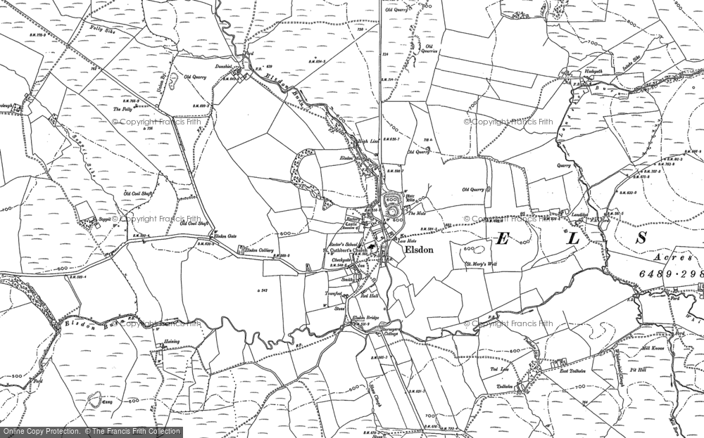 Old Map of Historic Map covering Leech-hope Crag in 1896