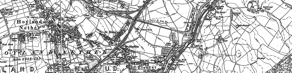 Old map of Elsecar in 1890