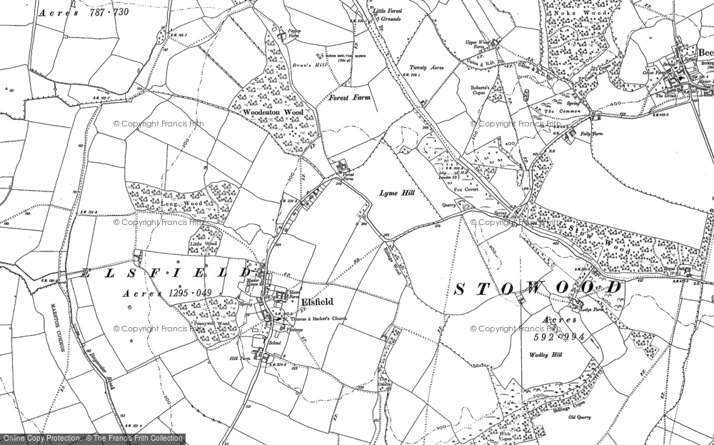 Old Map of Historic Map covering Woodeaton Wood in 1898