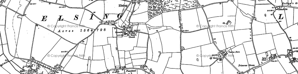 Old map of Elsing in 1882