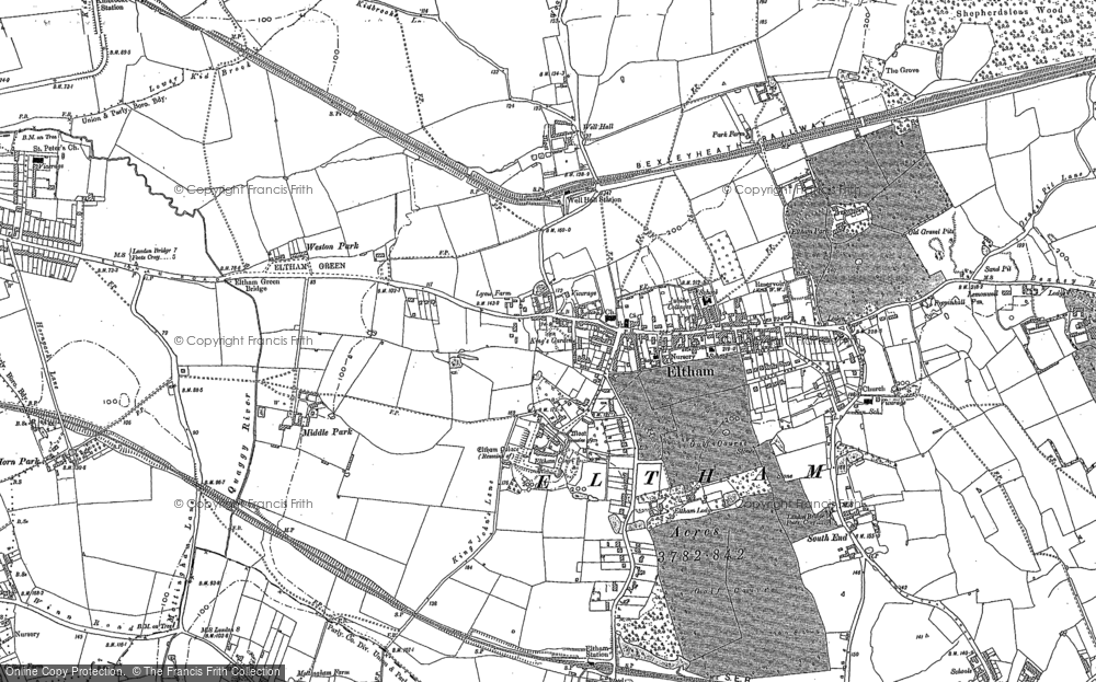 Old Map of Historic Map covering Avery Hill in 1894