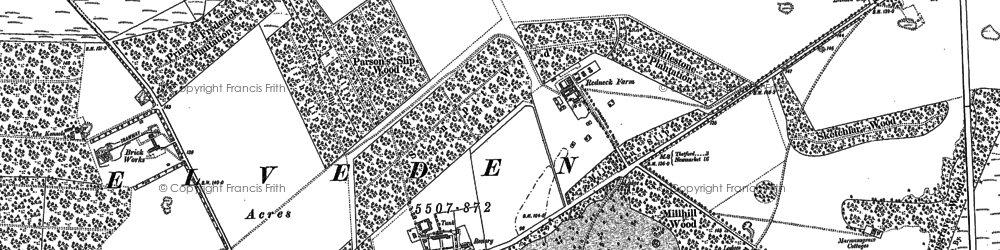 Old map of Larling Heath in 1881