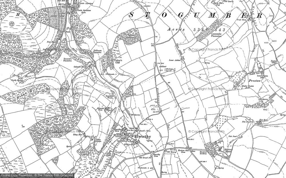 Old Map of Historic Map covering Ashbeer in 1886