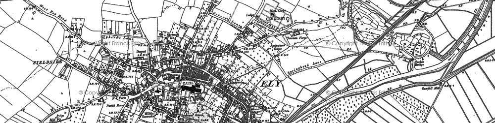 Old map of Ely in 1885