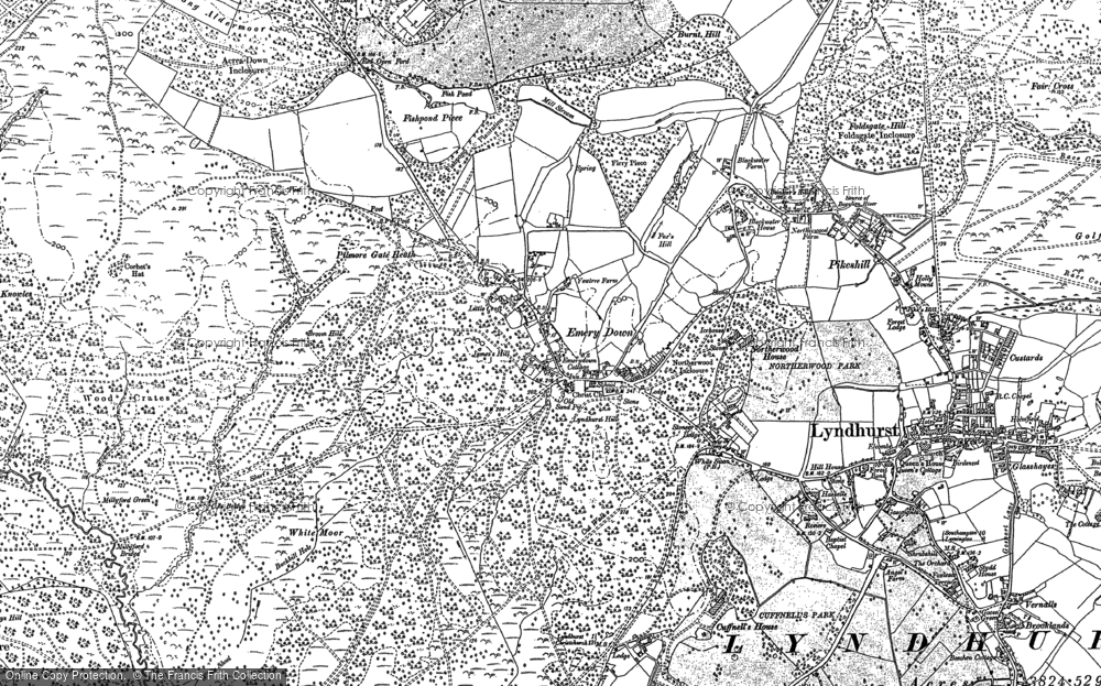 Old Map of Historic Map covering Acres Down Ho in 1895