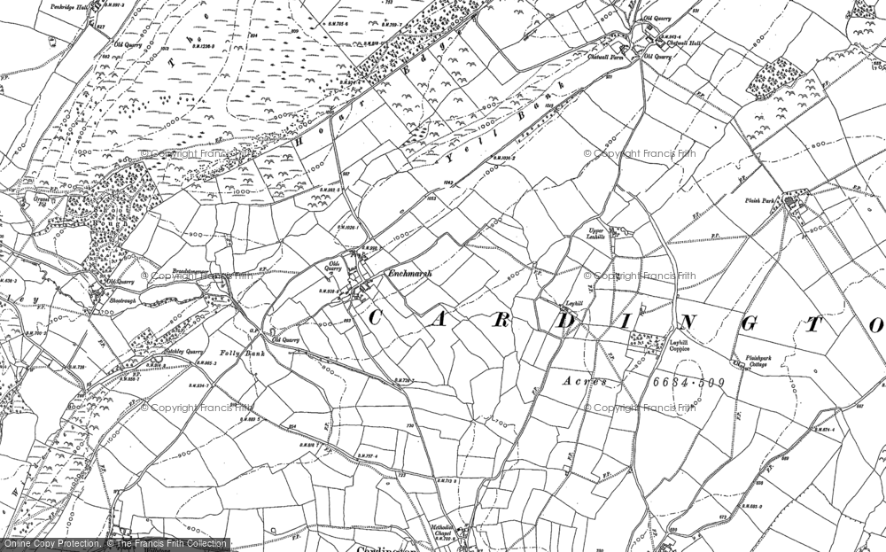 Old Map of Historic Map covering Lawley, The in 1882