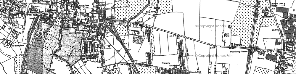 Old map of Enfield in 1895